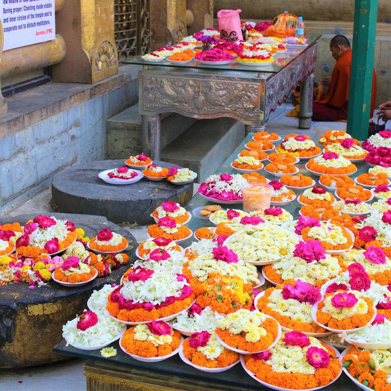 Flores no Mahabodhi Temple