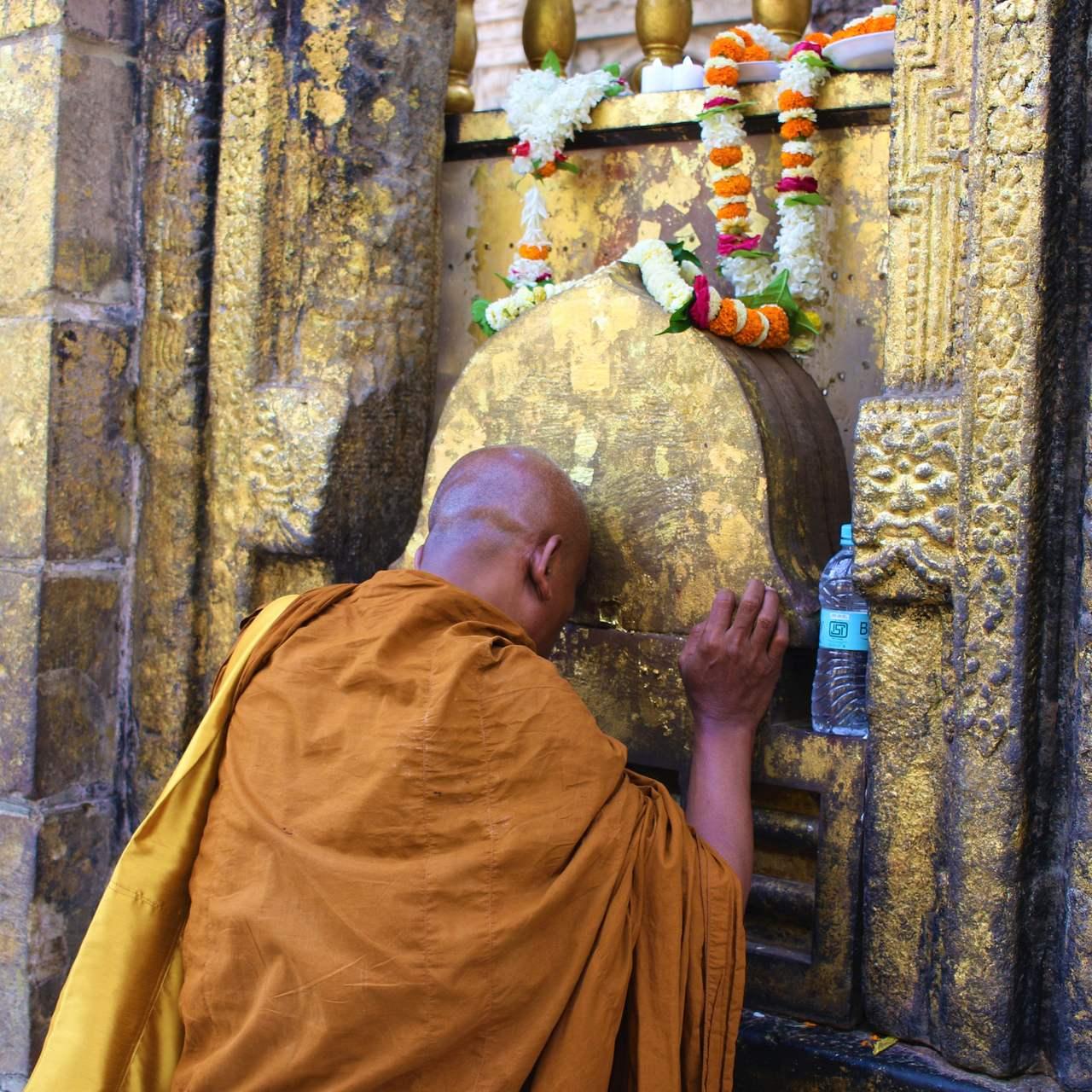 Monge Budista junto à Árvore de Bodhu no Mahabodhi temple